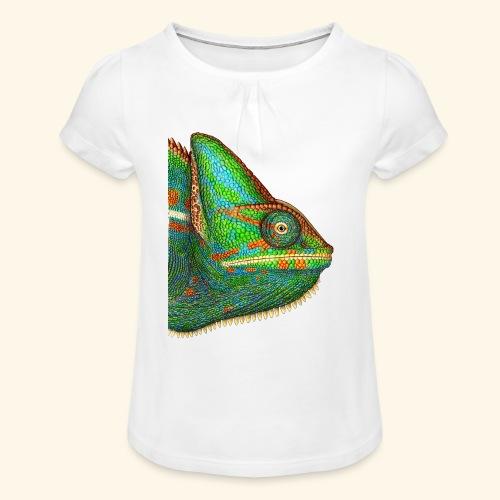 Chamäleon - Mädchen-T-Shirt mit Raffungen
