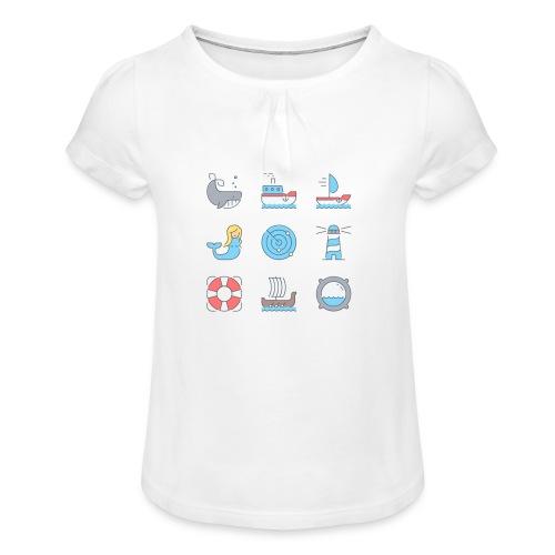 marine - T-shirt à fronces au col Fille