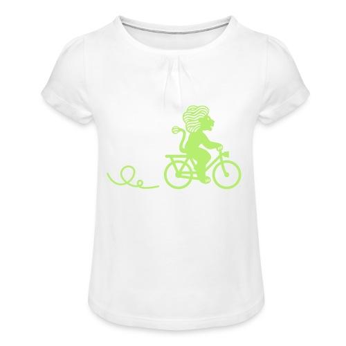 Züri-Leu beim Velofahren ohne Text - Mädchen-T-Shirt mit Raffungen
