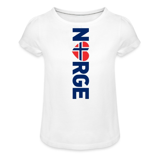 Elsker Norge - fra Det norske plagg - Jente-T-skjorte med frynser