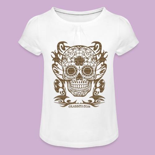 SKULL FLOWERS LEO - Mädchen-T-Shirt mit Raffungen