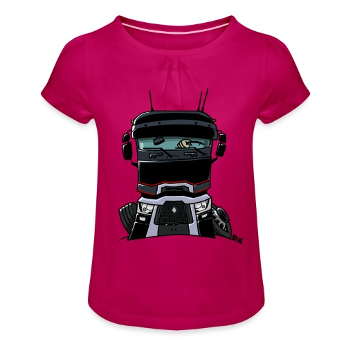 0813 R truck zwart - Meisjes-T-shirt met plooien