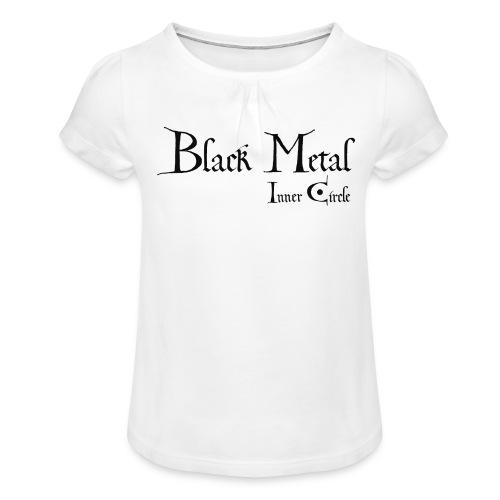 black metal Inner Circle, black ink - Girl's T-Shirt with Ruffles