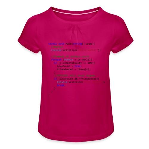 Love seen by a C# programmer - Maglietta da ragazza con arricciatura
