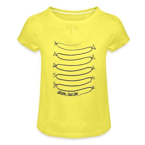 Wiener Illusion (schwarz auf weiß) - Mädchen-T-Shirt mit Raffungen