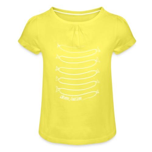 Wiener Illusion (weiß auf schwarz) - Mädchen-T-Shirt mit Raffungen
