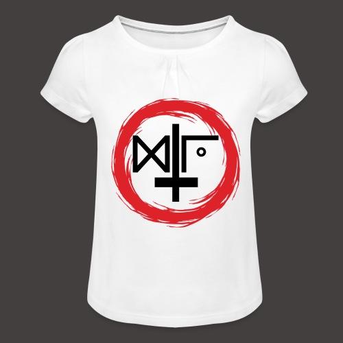 Logo Gu Croix Noir - T-shirt à fronces au col Fille