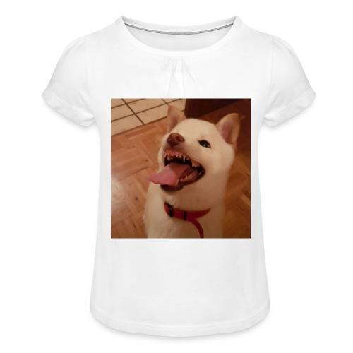 Mein Hund xD - Mädchen-T-Shirt mit Raffungen