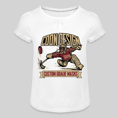CoonDesign - Goalie - Mädchen-T-Shirt mit Raffungen