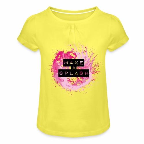 Make a Splash - Aquarell Design - Mädchen-T-Shirt mit Raffungen