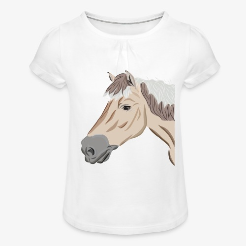 Fjord Pony - Mädchen-T-Shirt mit Raffungen