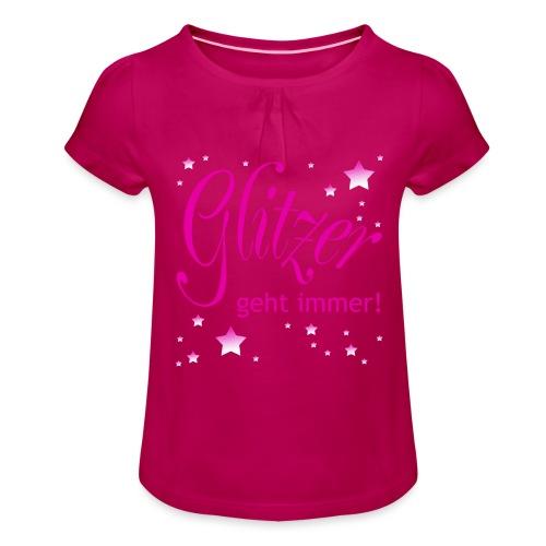 Glitzer geht immer - Mädchen-T-Shirt mit Raffungen