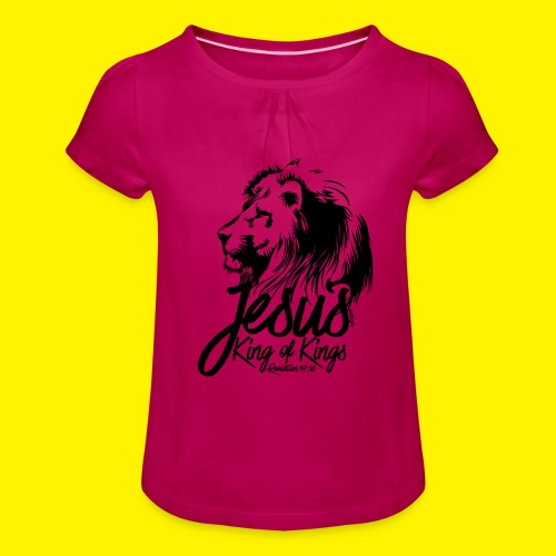 JESUS - KING OF KINGS - Revelations 19:16 - LION - Girl's T-Shirt with Ruffles
