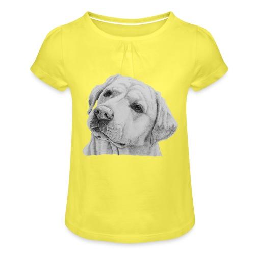 labrador retriever yellow - head - Pige T-shirt med flæser