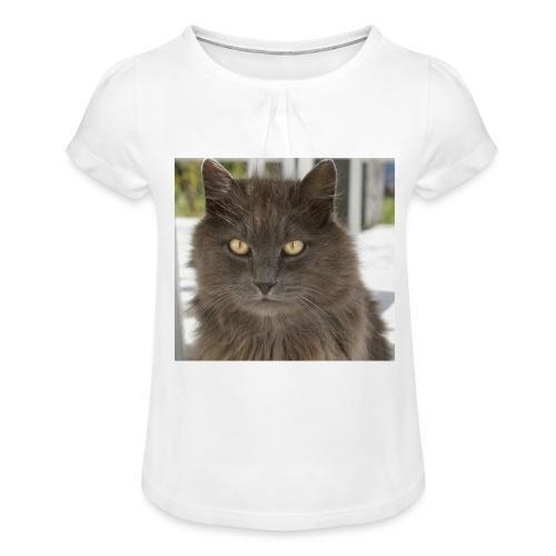 Kater Bärli - Mädchen-T-Shirt mit Raffungen