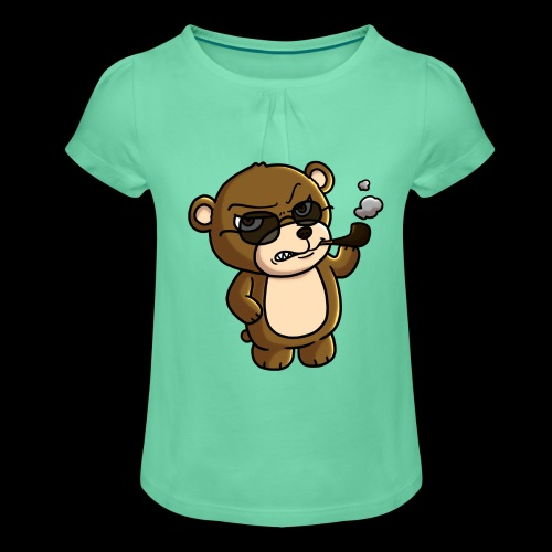AngryTeddy - Girl's T-Shirt with Ruffles