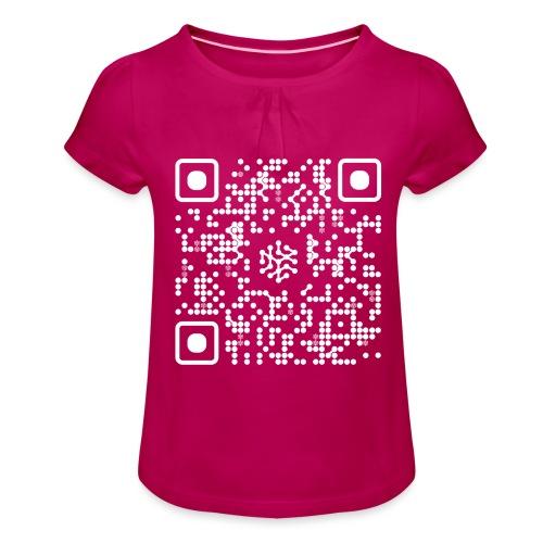 QR Safenetforum White - Girl's T-Shirt with Ruffles