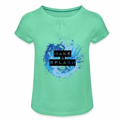 Make a Splash - Aquarell Design in Blau - Mädchen-T-Shirt mit Raffungen