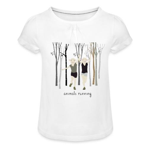 Moutons running - T-shirt à fronces au col Fille