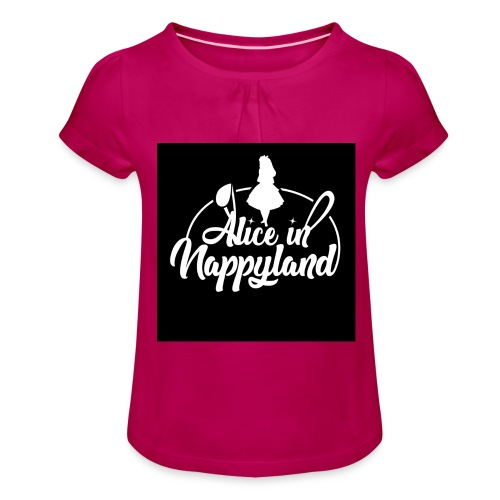 Alice in Nappyland TypographyWhite 1080 - Girl's T-Shirt with Ruffles