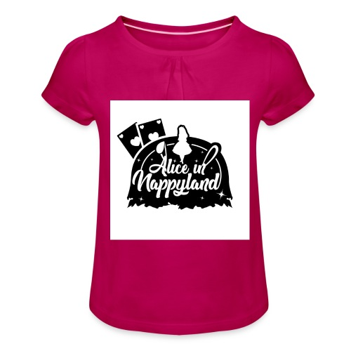 Alice in Nappyland TypographyWhite with background - Girl's T-Shirt with Ruffles
