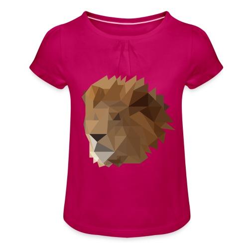 Löwe - Mädchen-T-Shirt mit Raffungen