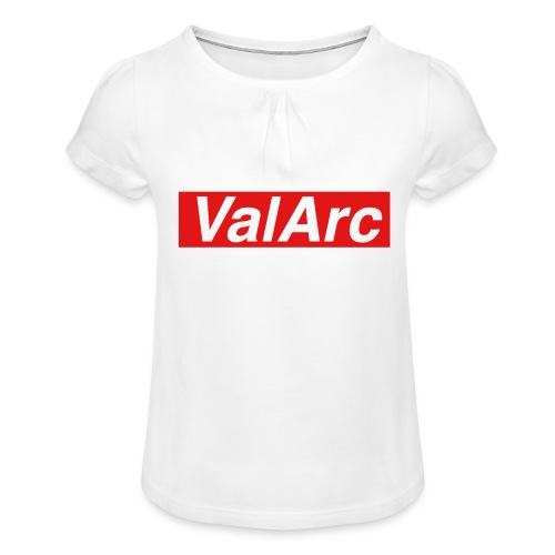 ValArc Text Merch Red Background - T-shirt à fronces au col Fille