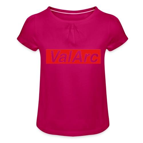 ValArc Text Merch Red Background - T-shirt à fronces au col Fille