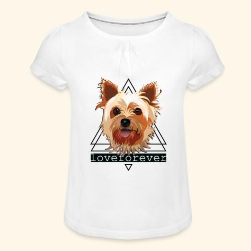 YORKIE LOVE FOREVER - Camiseta para niña con drapeado