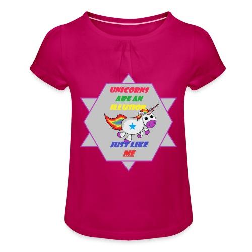 Unicorn with joke - Girl's T-Shirt with Ruffles