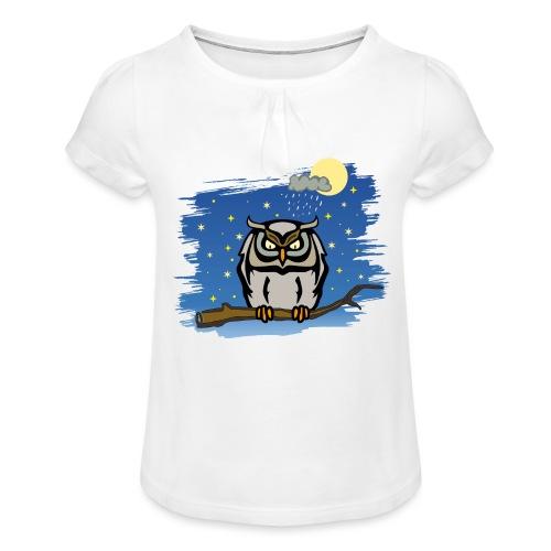 Eule Uhu Nachtschwärmer Vollmond Regenwolke Sterne - Mädchen-T-Shirt mit Raffungen