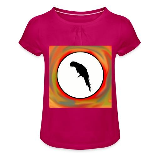 Papagei - Mädchen-T-Shirt mit Raffungen