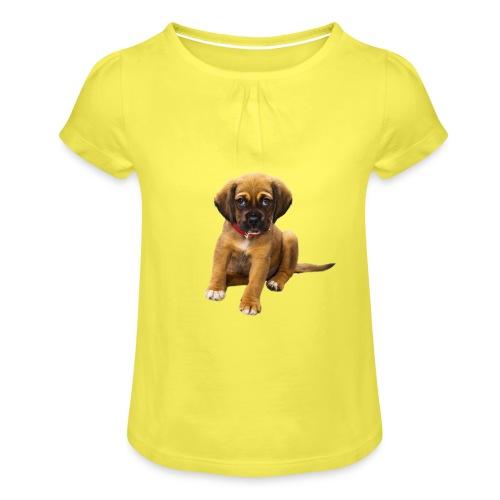 Süsses Haustier Welpe - Mädchen-T-Shirt mit Raffungen