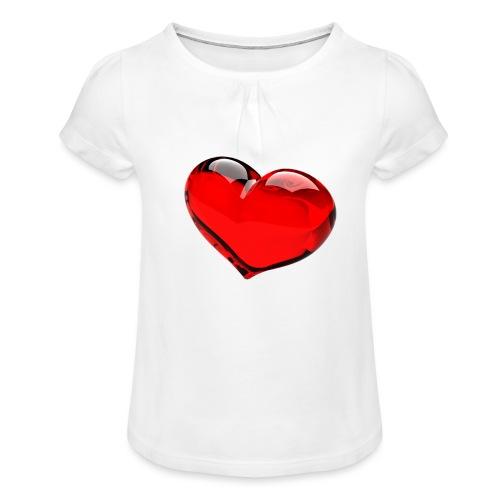 serce 3D - Koszulka dziewczęca z marszczeniami