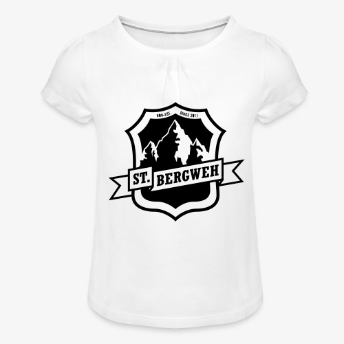 St. Bergweh Logo einfarbig - Mädchen-T-Shirt mit Raffungen