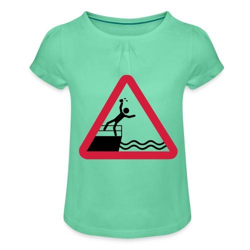 Bitte kein Bier Verschütten! - Mädchen-T-Shirt mit Raffungen