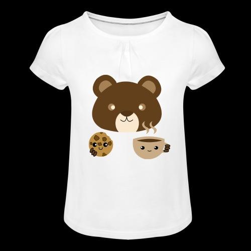 Oso Merendando - Camiseta para niña con drapeado