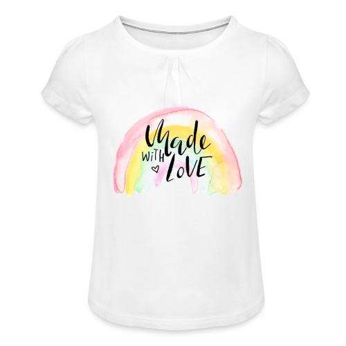 Made with Love Rainbow Baby - Mädchen-T-Shirt mit Raffungen