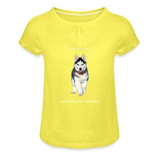 Husky Welpen mit bezaubernden Augen - Mädchen-T-Shirt mit Raffungen