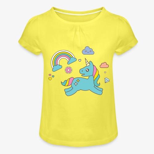 colored unicorn - Girl's T-Shirt with Ruffles