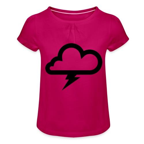 Wolke mit Blitz - Mädchen-T-Shirt mit Raffungen