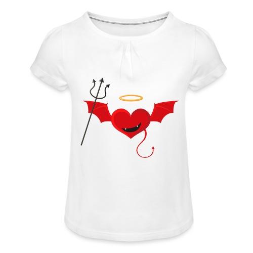 Red Heart Devil - Koszulka dziewczęca z marszczeniami