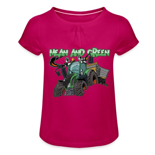 F 718Vario mean and green - Meisjes-T-shirt met plooien