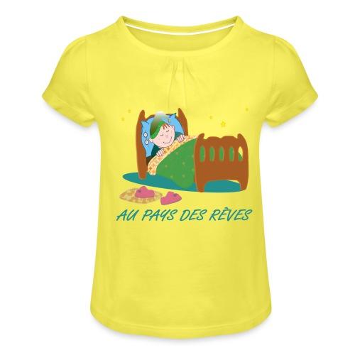 Personnage endormi - T-shirt à fronces au col Fille