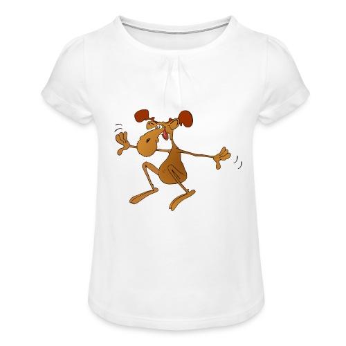 elch huepft - Mädchen-T-Shirt mit Raffungen