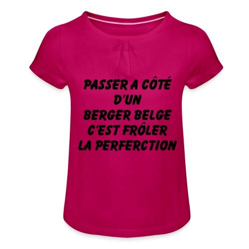Frôler la perfection - T-shirt à fronces au col Fille