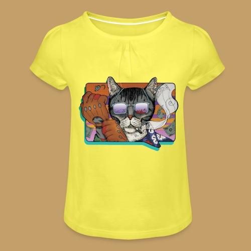 Crime Cat in Shades - Koszulka dziewczęca z marszczeniami
