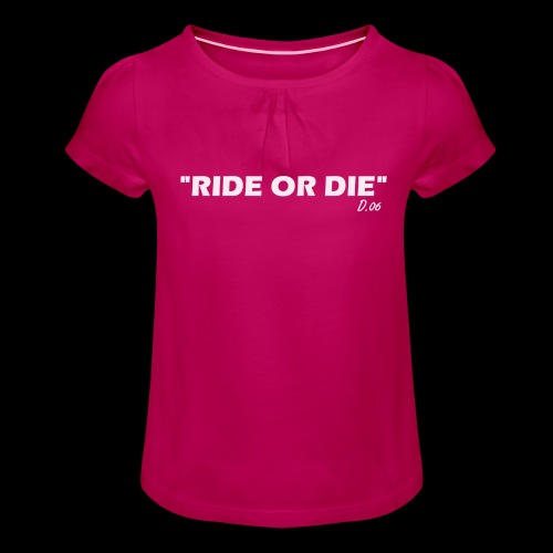 Ride or die (blanc) - T-shirt à fronces au col Fille