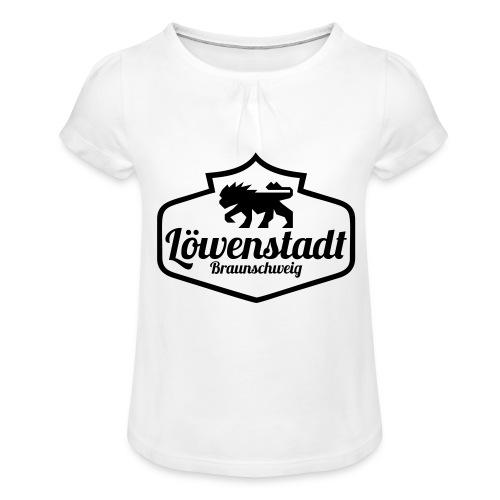 Löwenstadt Design 1 schwarz - Mädchen-T-Shirt mit Raffungen