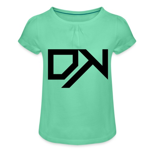 DewKee Logo Cap Black - Girl's T-Shirt with Ruffles